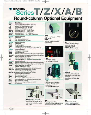 Clausing Round Column Optional Equipment