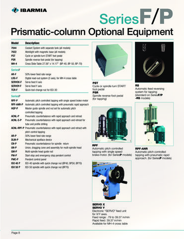 Clausing Series F P Prismatic Column Optional Equipment