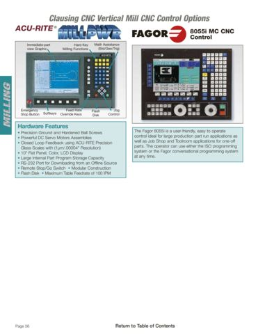 Clausing Vertical Mill Control Options