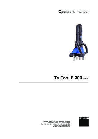 F 300 with 1200W motor Operators Manual