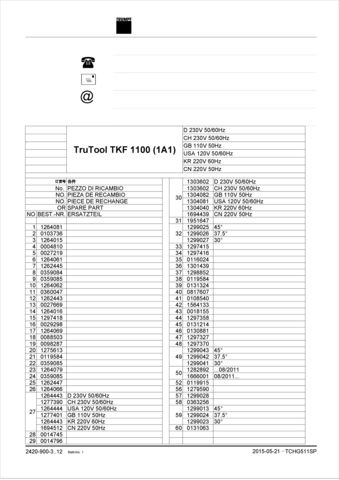 TKF 1100 Spare Parts