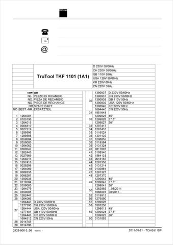 TKF 1101 Spare Parts