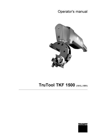 TKF 1500 with 2 speed Operators Manual